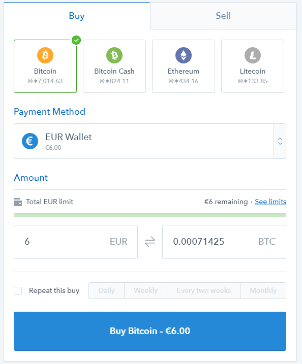 cryptocurrency purchase at Coinbase