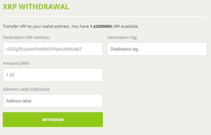 BitStamp XRP withdrawal