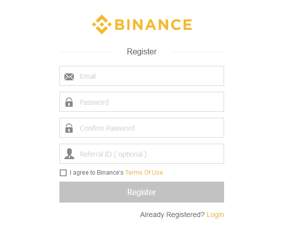 first step: register at Binance