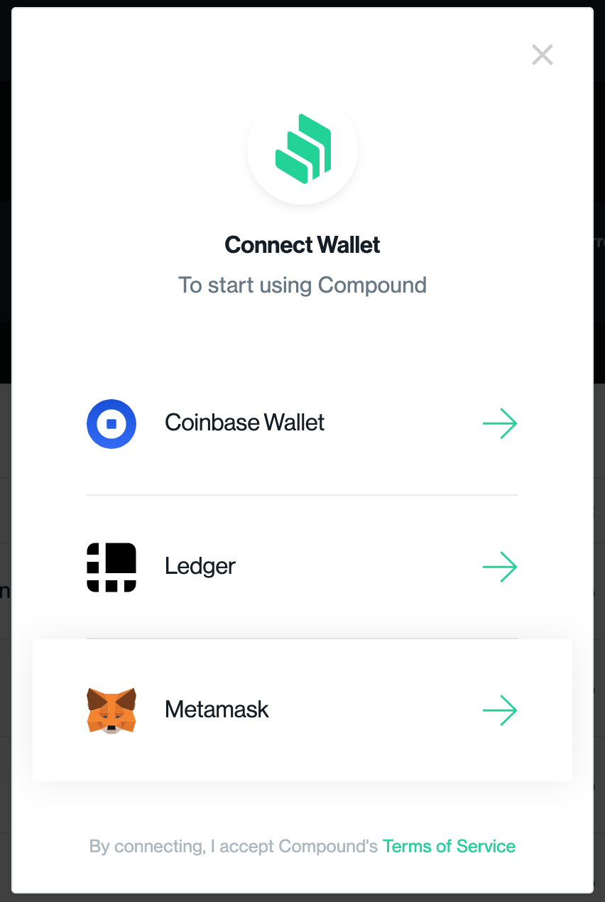 connect wallet to Compound Finance
